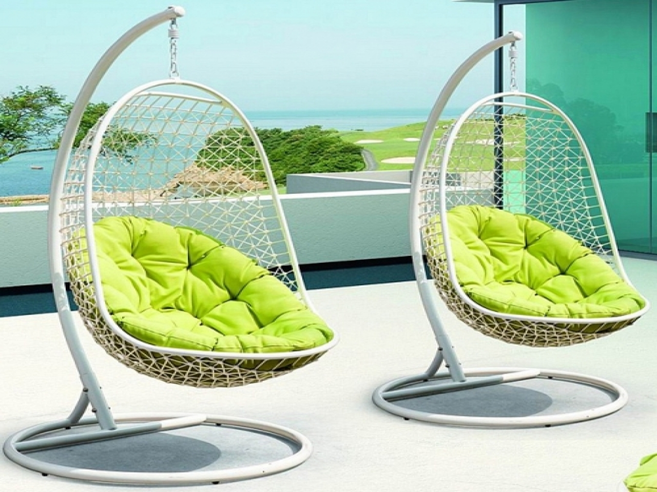 Image of: metal patio swing chair