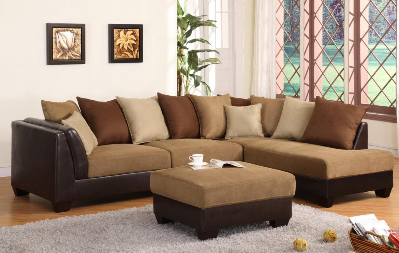Image of: Microfiber Sectional Couch With Ottoman