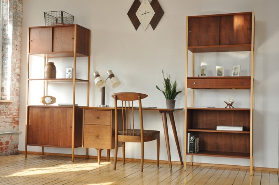 Image of: Mid century bookshelves