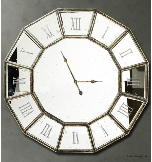 Image of: Mirror Wall Clock Circle