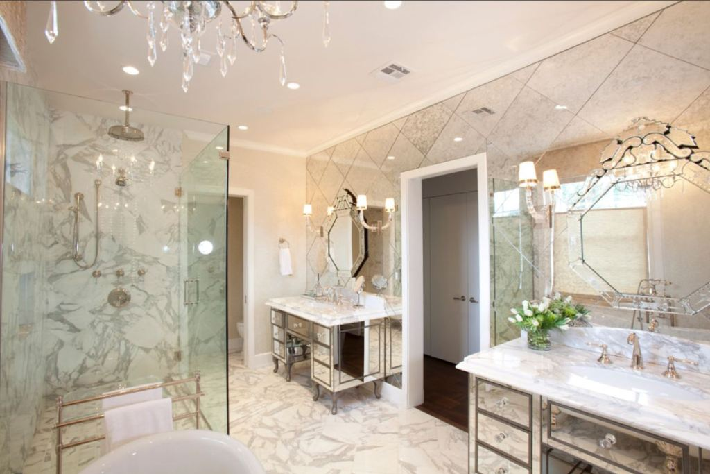 Image of: Mirror Wall Tiles Antiqued