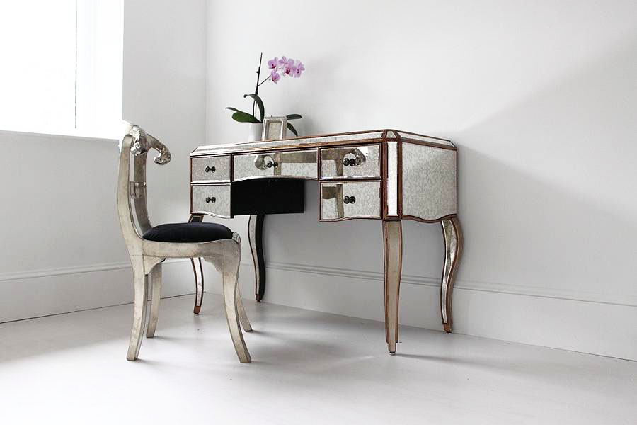 Mirrored Vanity Desk and Chairs