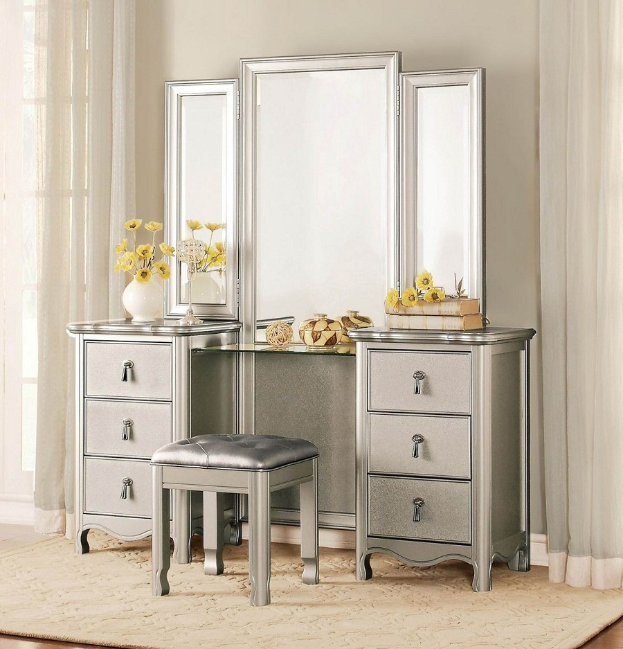 Image of: Mirrored Vanity Desk and Stool