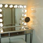 Mirrored Vanity Desk with Lamps