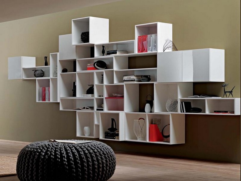Image of: Modern Bookcase on Wall