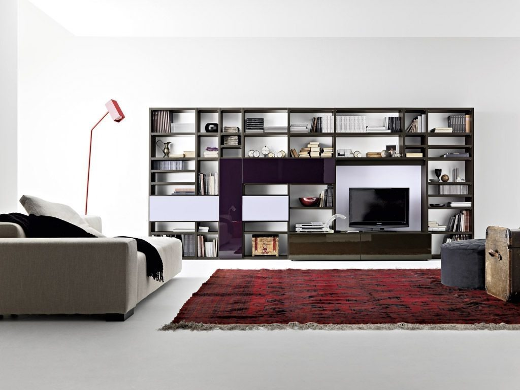 Image of: modern built in bookshelves