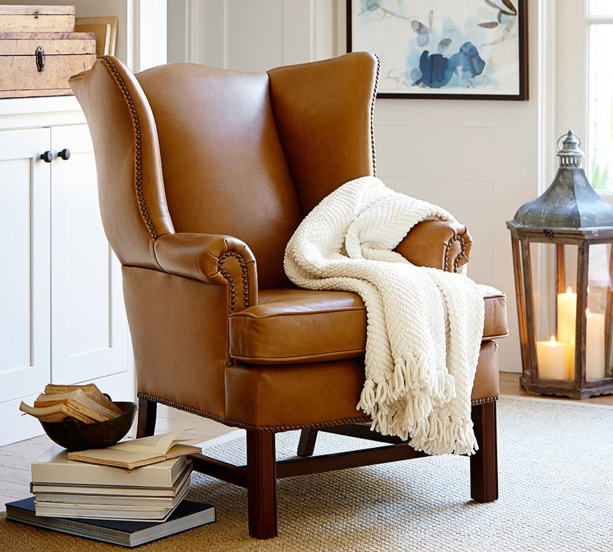 modern leather wingback chair