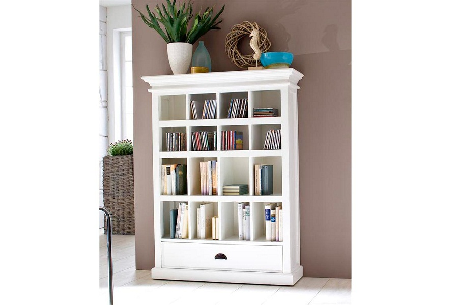 Image of: Modern White Bookcase Drawers