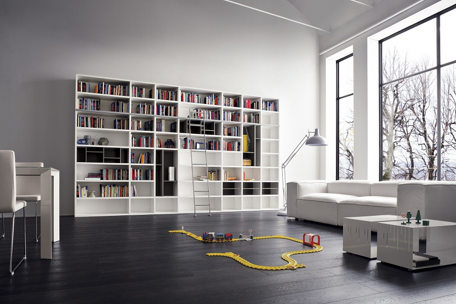 Image of: Modern White Bookcase Library
