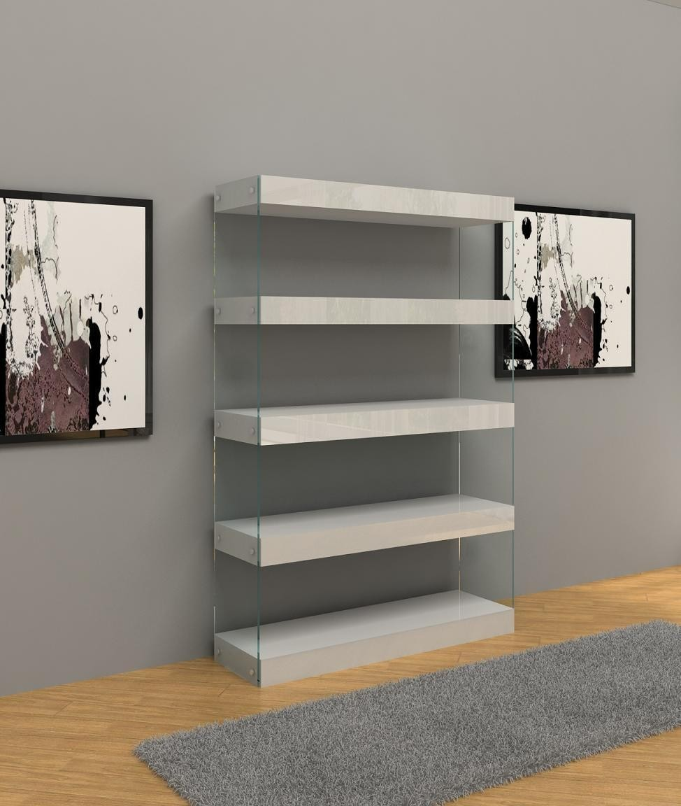 Image of: Modern White Bookcase Wall