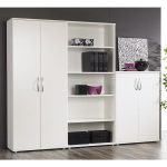 Modern White Bookcase with Doors
