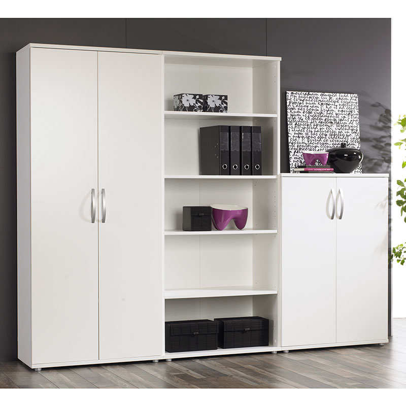 Image of: Modern White Bookcase with Doors