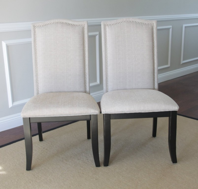 Image of: Nailhead Dining Chair White