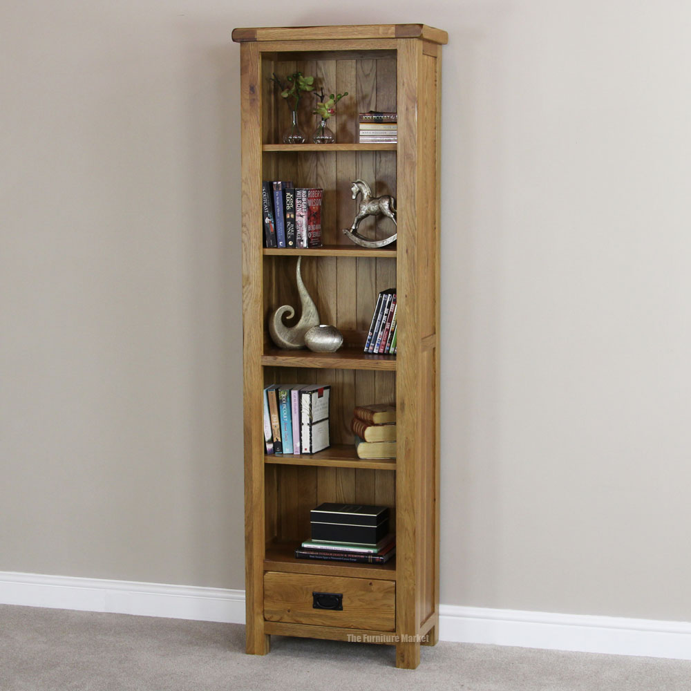 Image of: Narrow Bookcase with Drawers