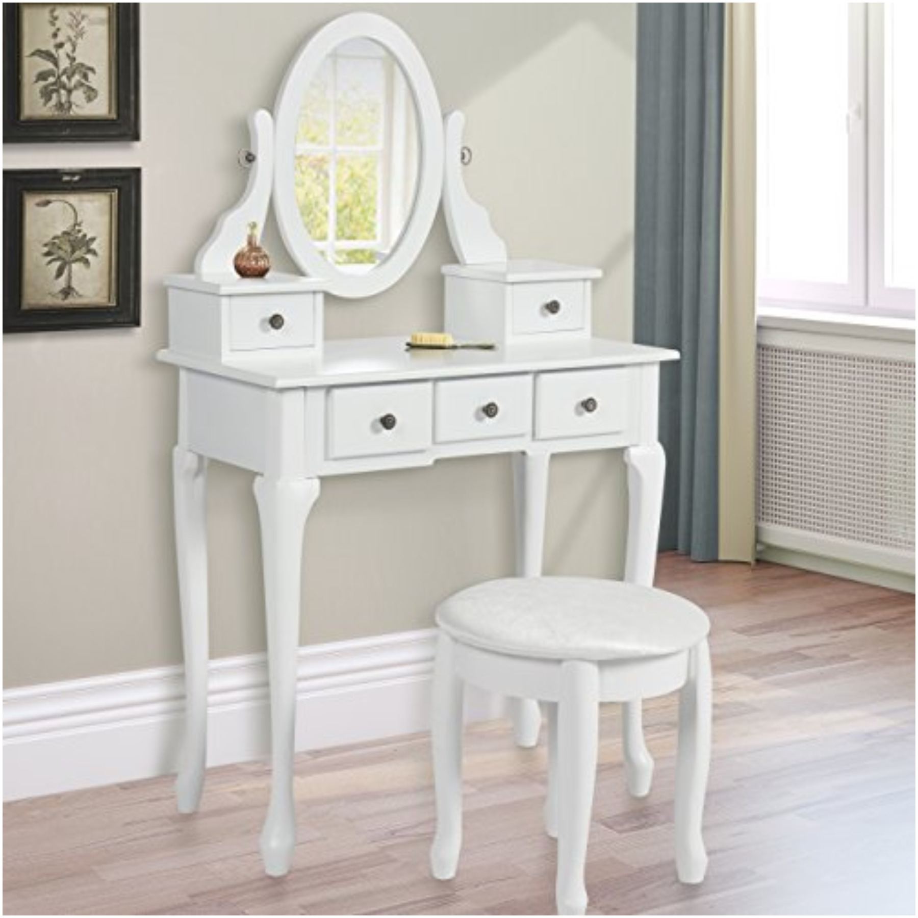 Image of: Nice Vanity Table with Mirror and Bench