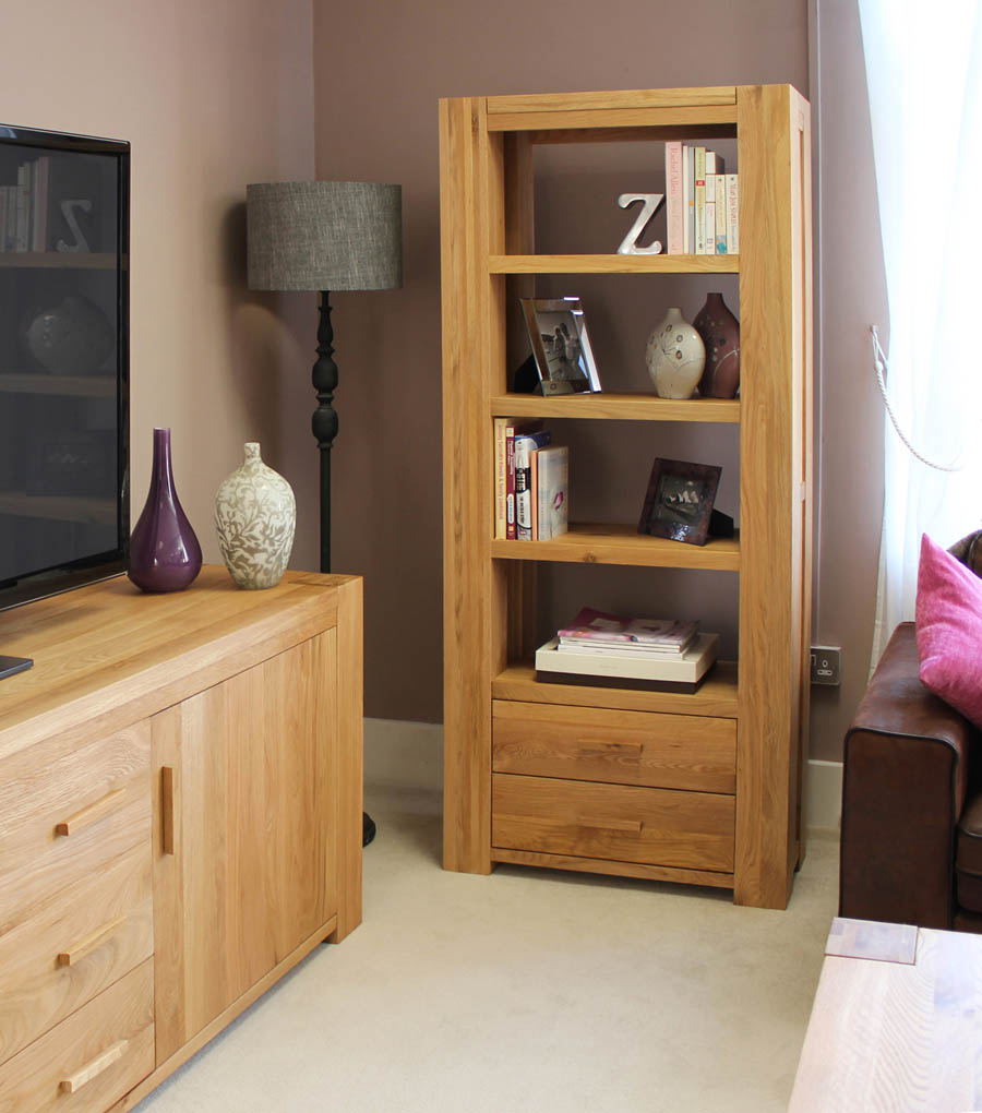 Image of: Oak Bookcase with Drawers
