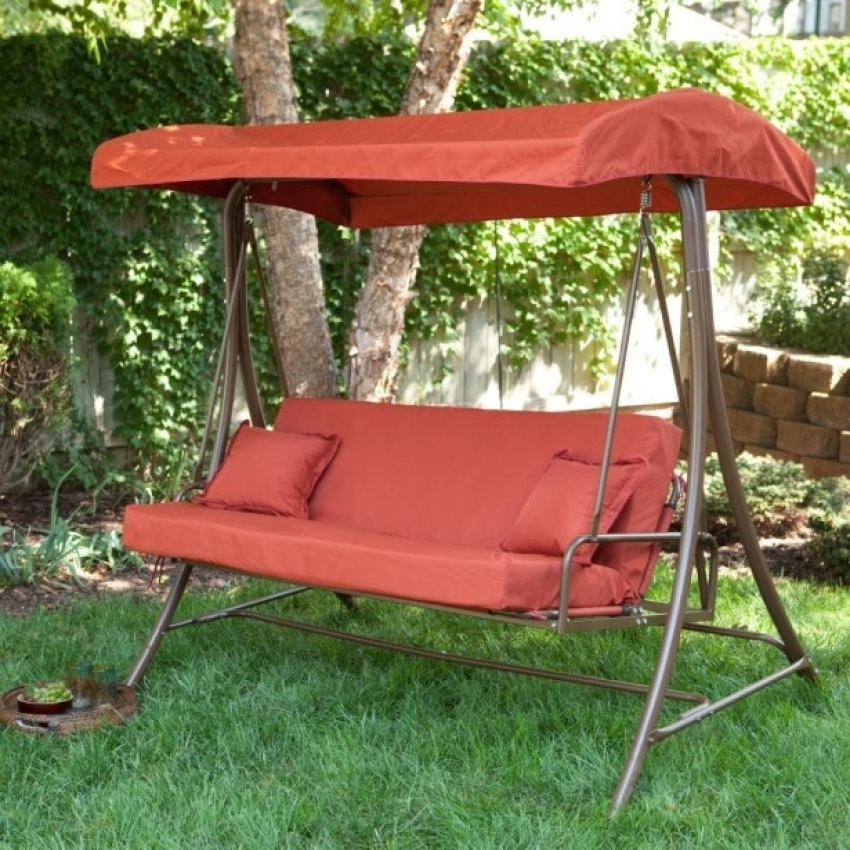 Image of: Outdoor Glider with Canopy Red