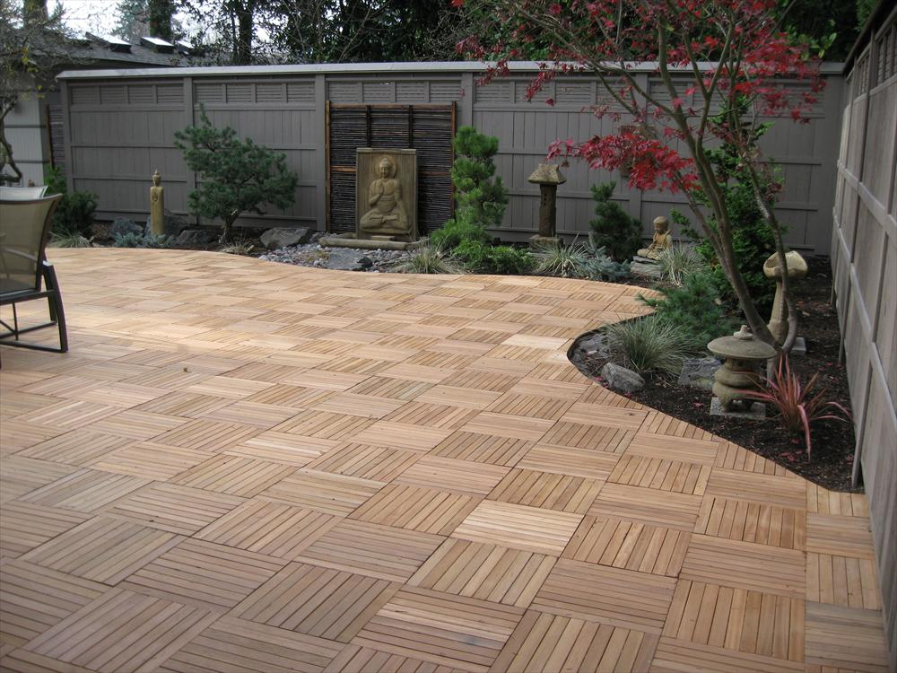 Image of: Outdoor Interlocking Wood Deck Tiles