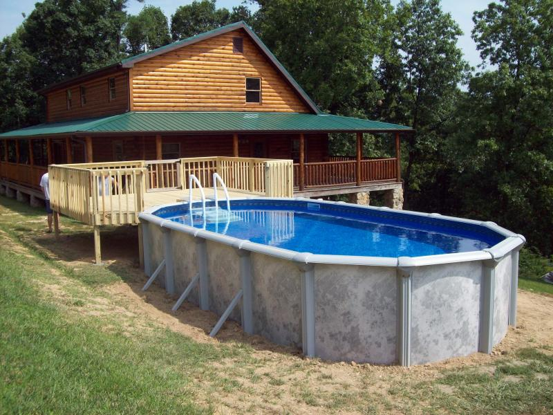 Image of: Oval Pool Decks Backyard