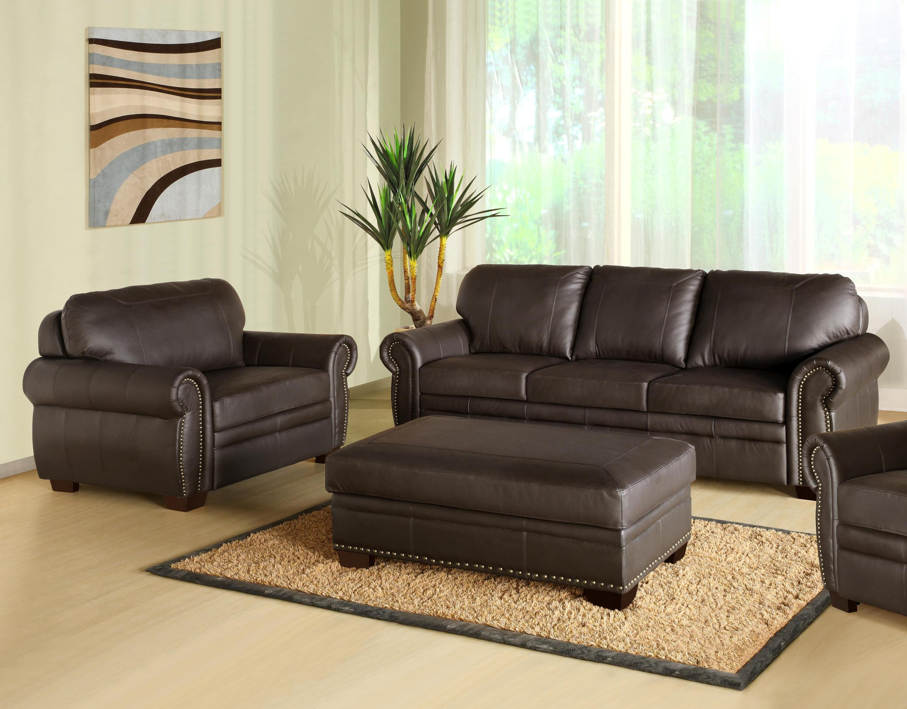 Image of: Oversized Leather Chair And Ottoman