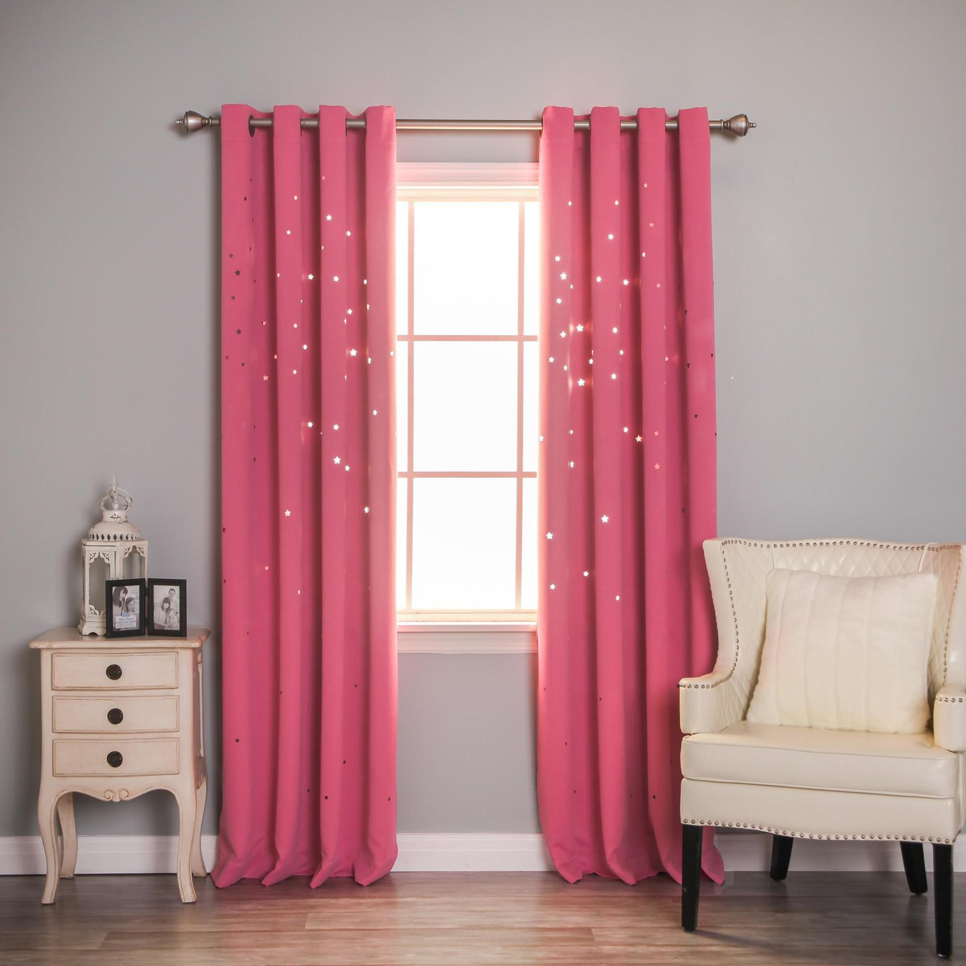 Image of: Pink Eyelet Blackout Curtains