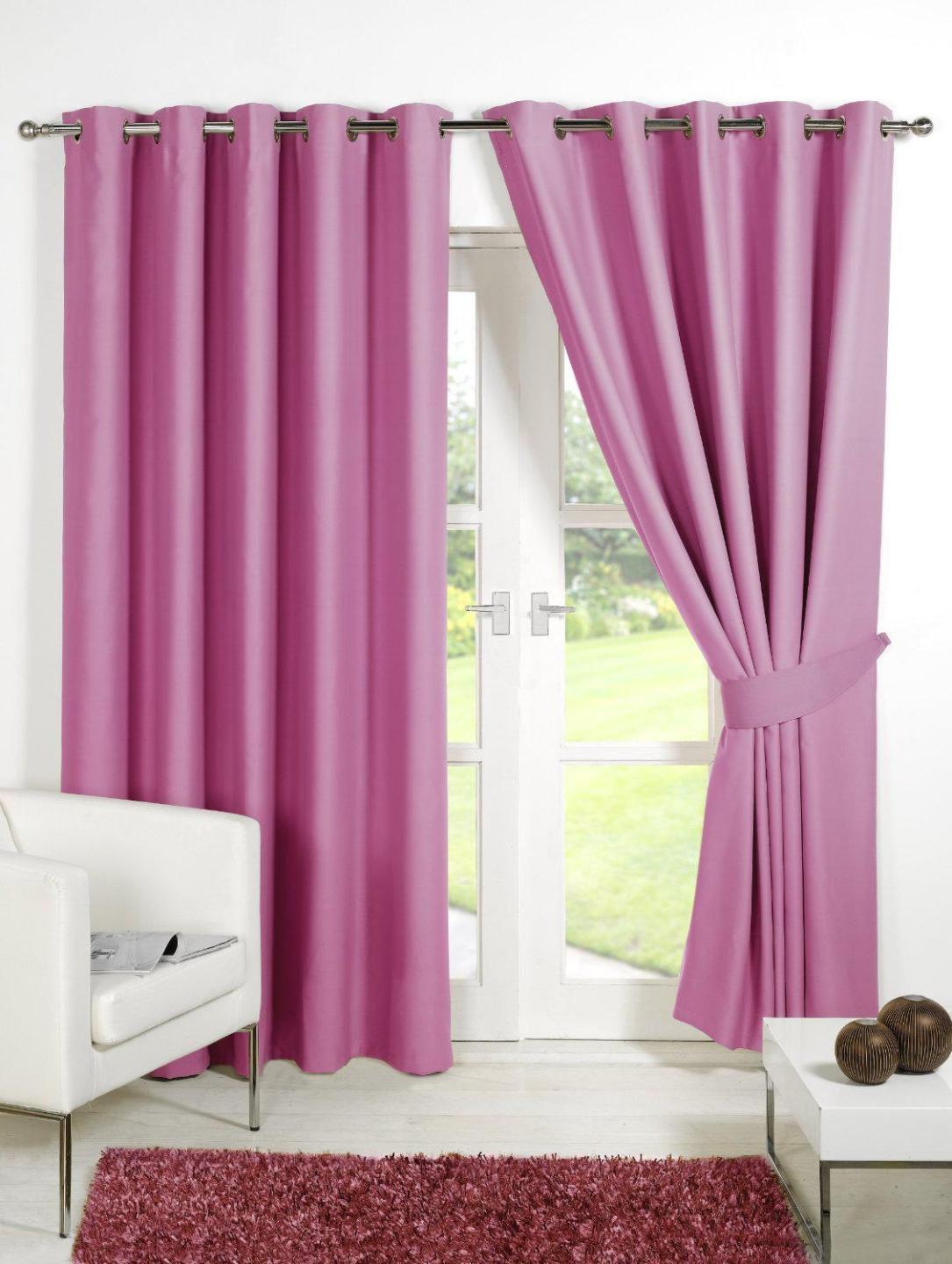 Image of: Pink Gingham Blackout Curtains