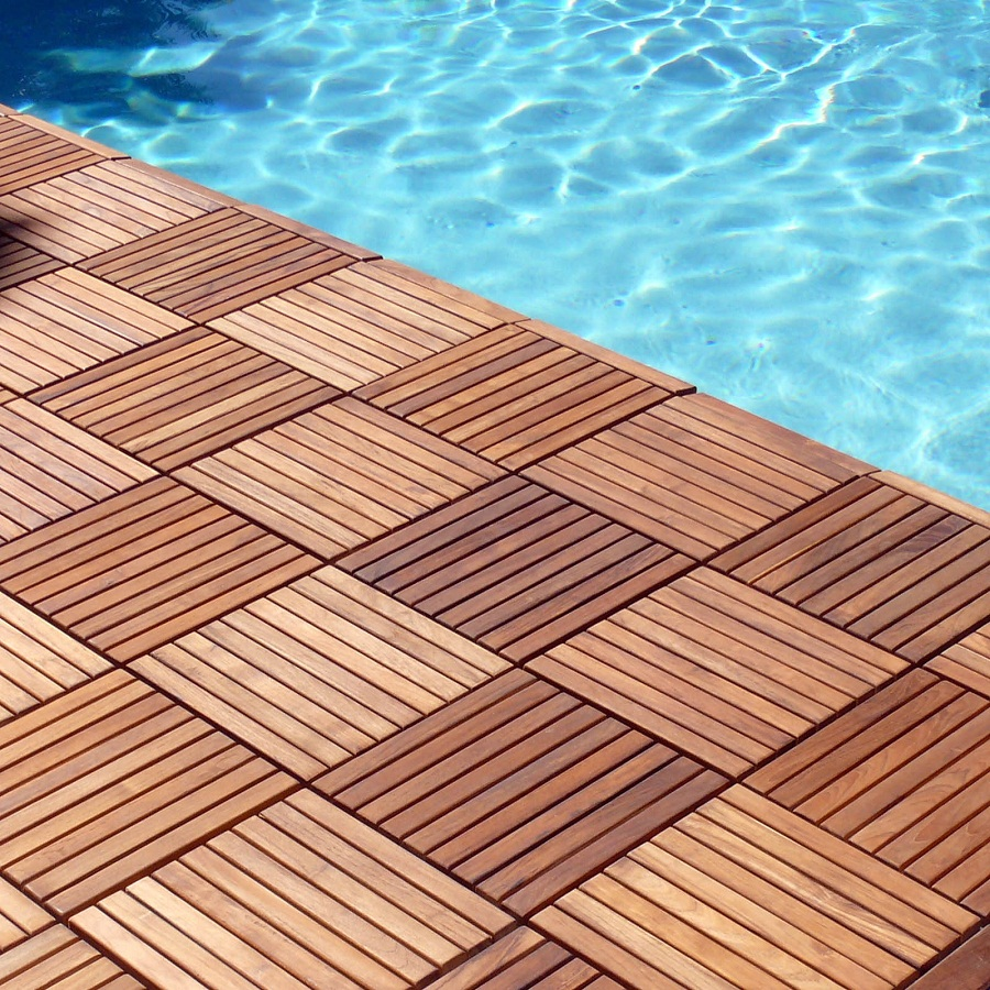 Image of: Pool Interlocking Wood Deck Tiles