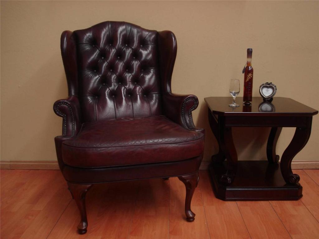 Image of: popular leather wingback chair