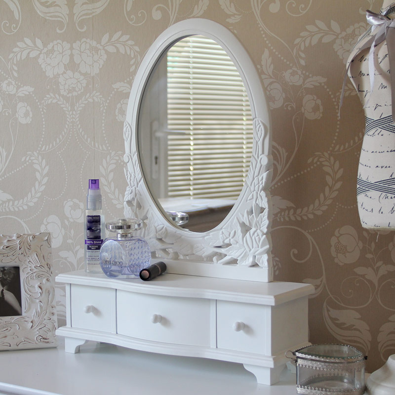 Image of: Popular Vanity Table with Mirror and Bench