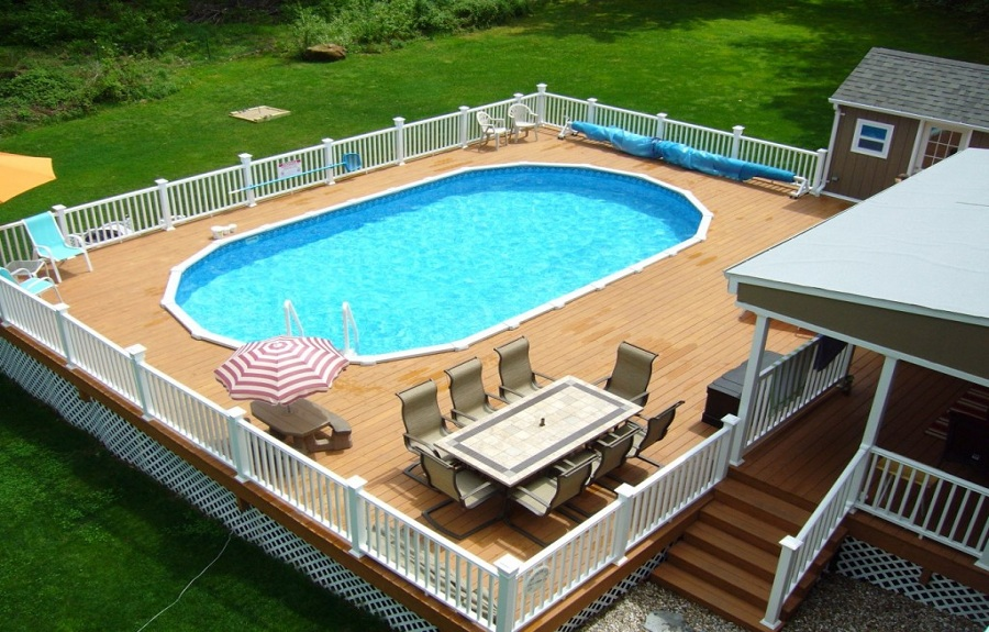 Pretty Oval Pool Decks
