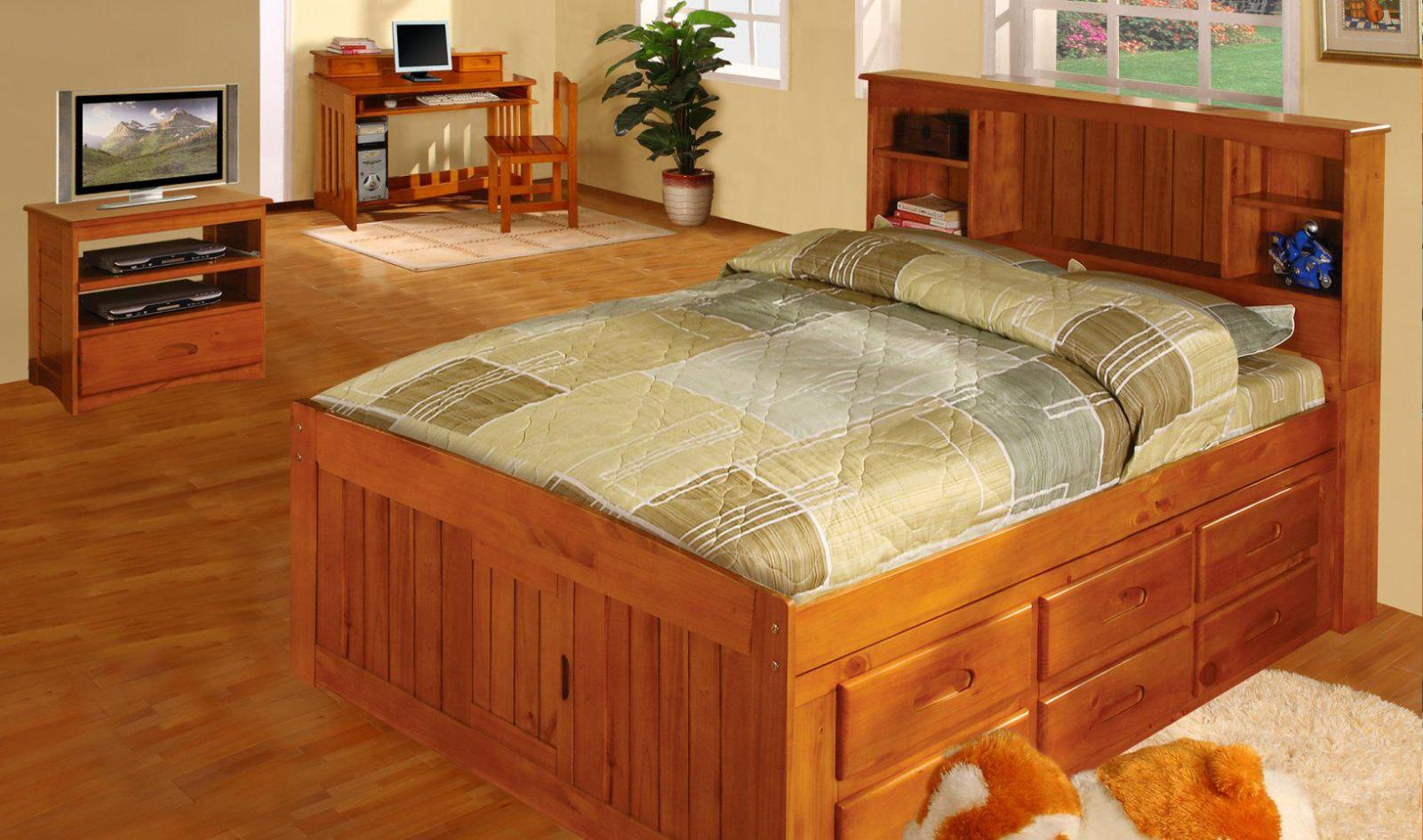 Image of: Queen Size Captains Storage Bed