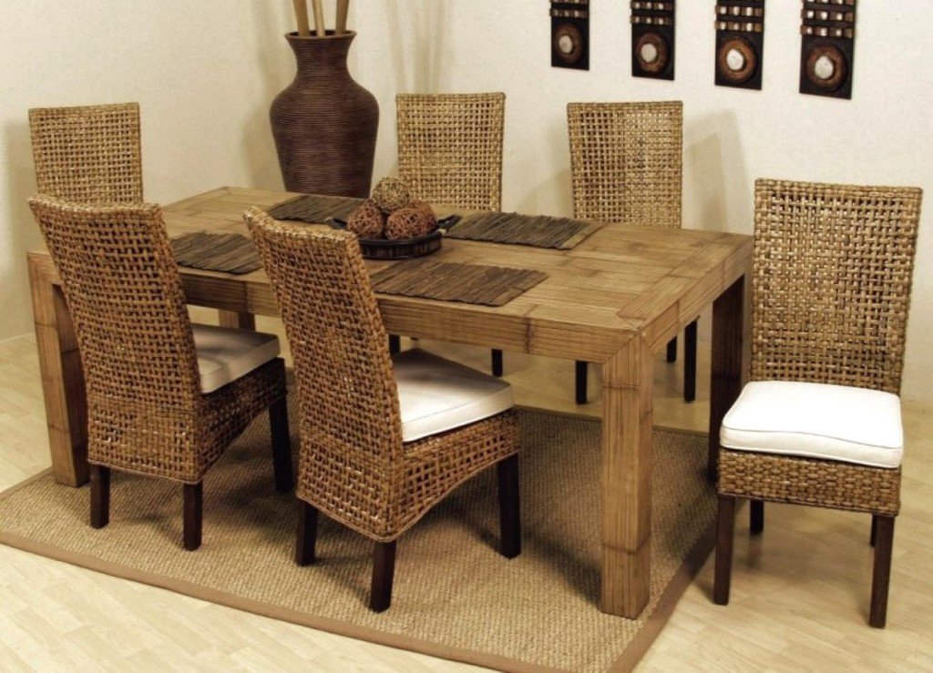 Image of: rattan dining chairs indoor