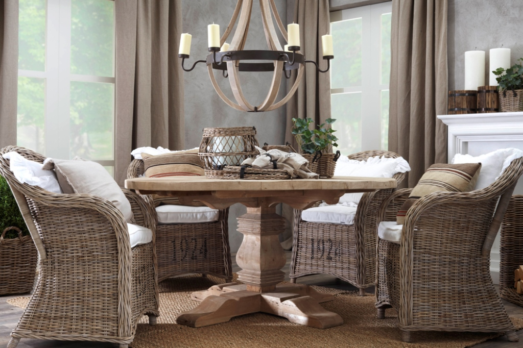 Image of: rattan dining chairs with casters