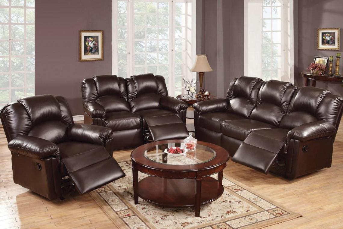 Image of: Reclining Leather Sofa Set