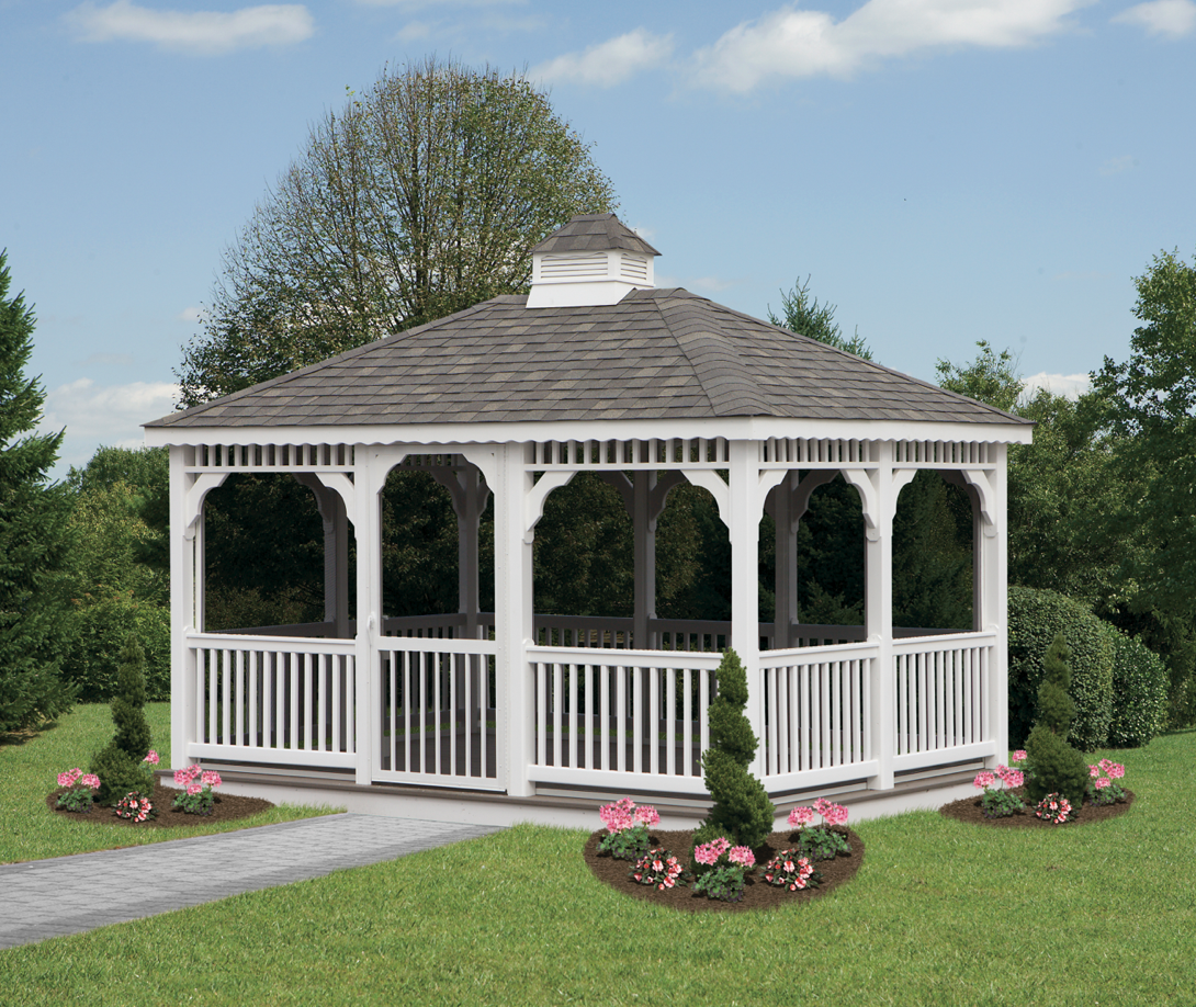 Image of: Rectangular Gazebo White
