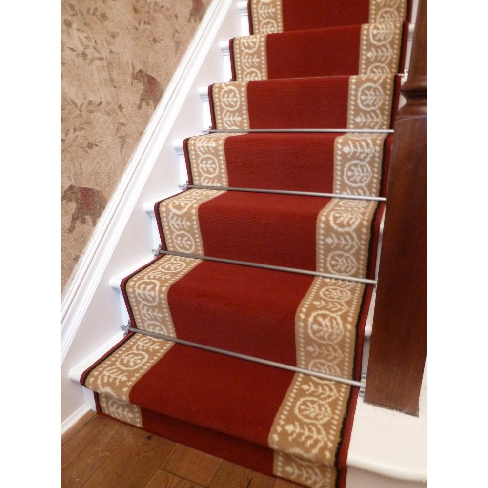 Image of: red carpet runners for stairs