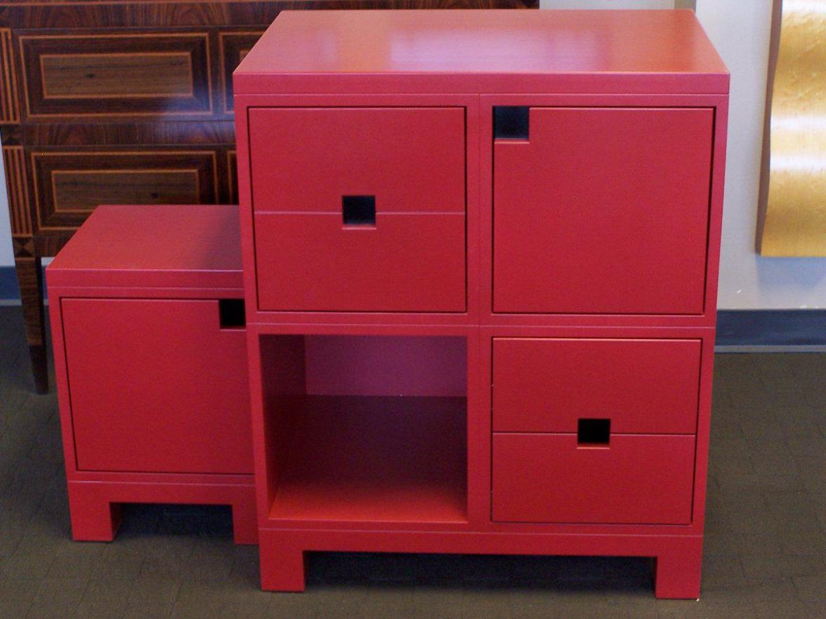 Image of: Red Cube Shelving Unit