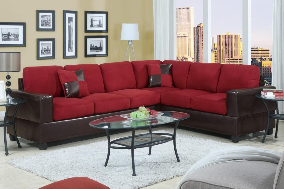 Image of: Red Microfiber Sectional Couch