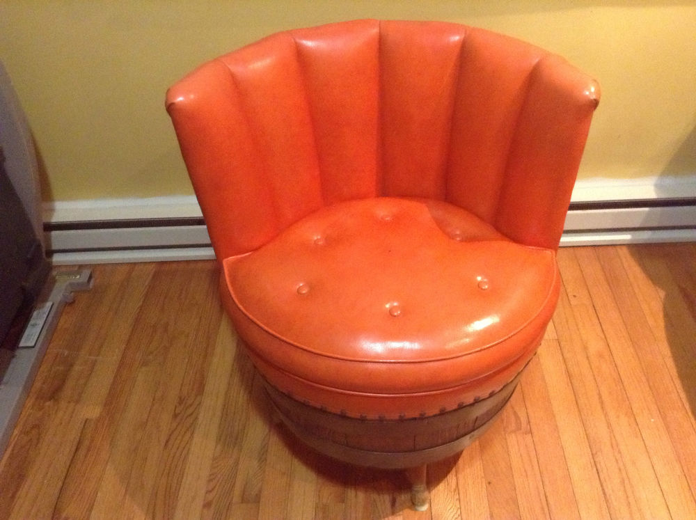Image of: red swivel barrel chair