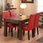 red upholstered dining chair
