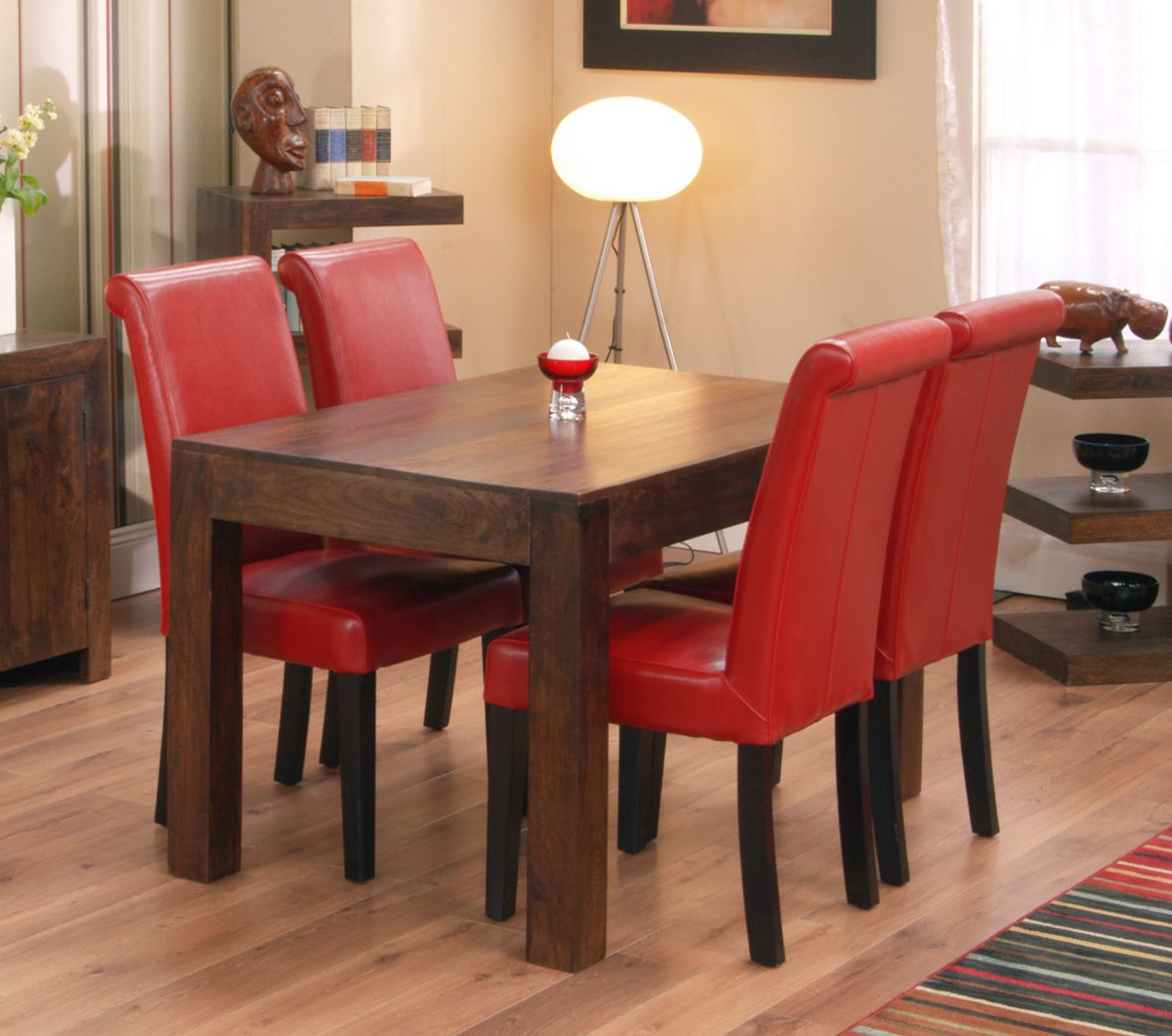 Image of: red upholstered dining chair