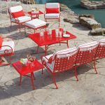 red wrought iron chairs