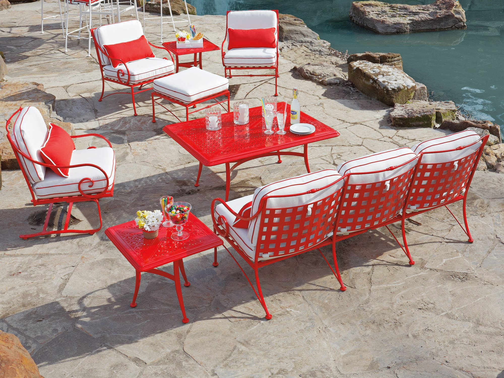 Image of: red wrought iron chairs