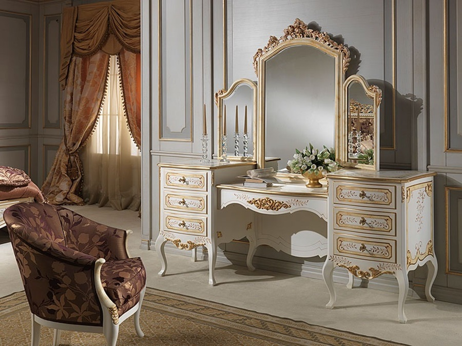 Image of: Retro Vanity Desk With Mirror