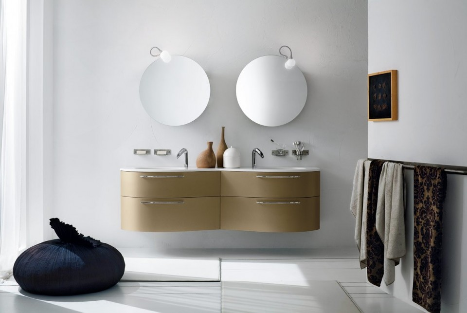 Image of: Round Bathroom Mirrors Twin