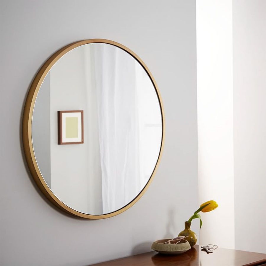 Image of: Round Gold Framed Wall Mirror