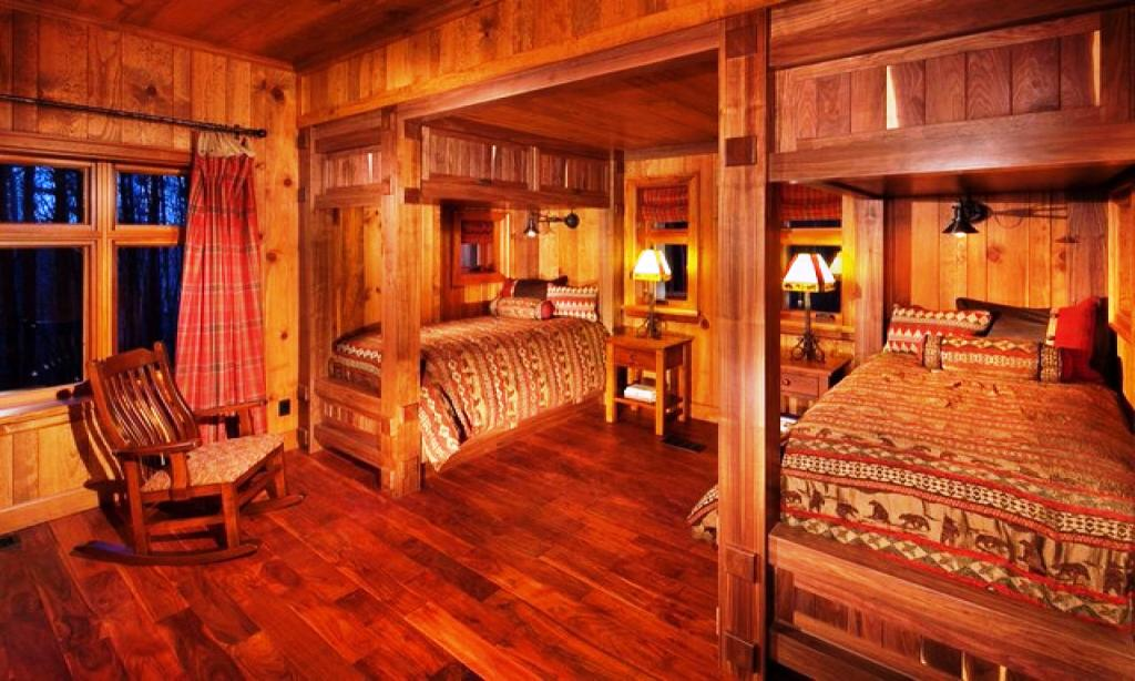 Image of: Rustic Cabin Bedroom Lighting
