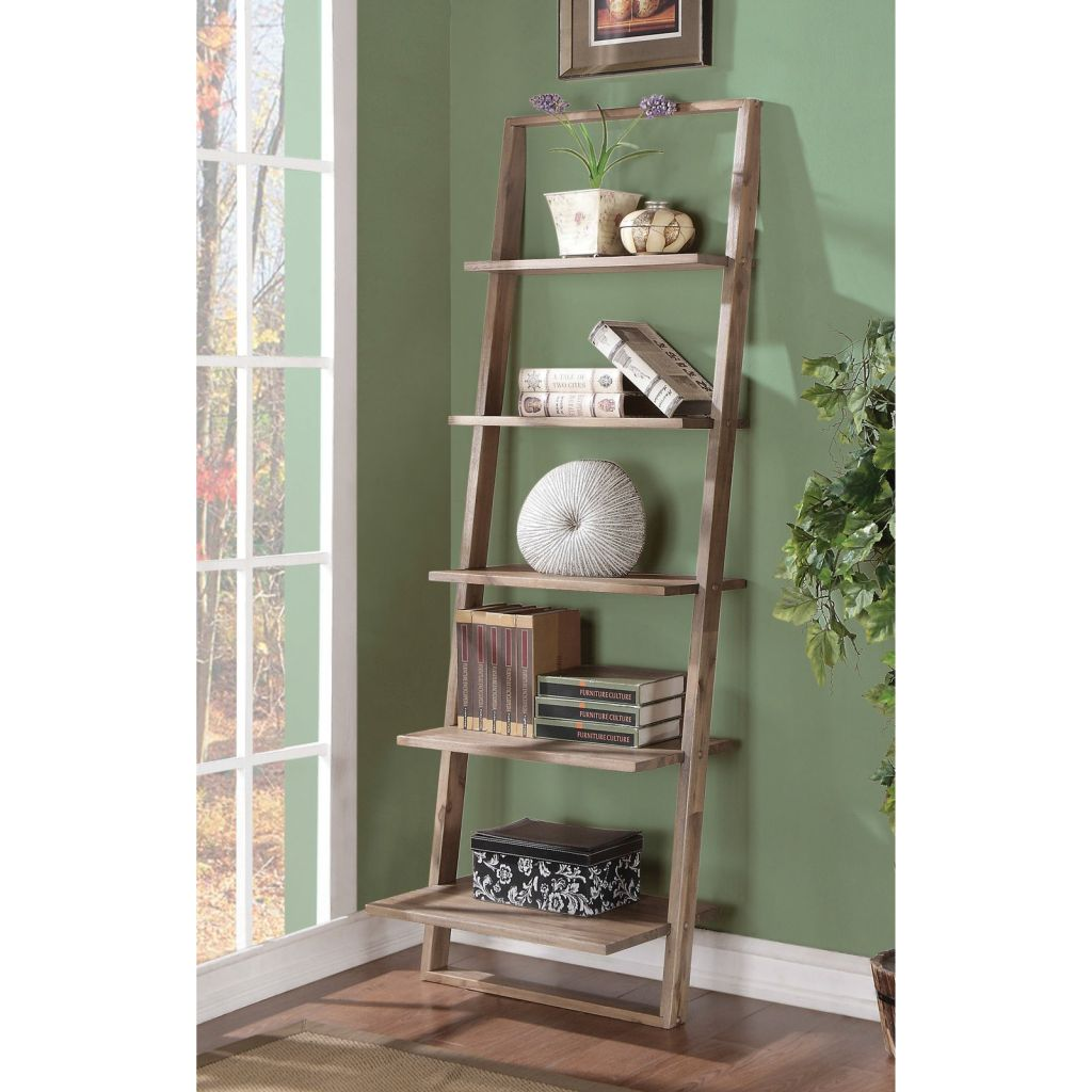 Rustic Leaning Ladder Bookcase