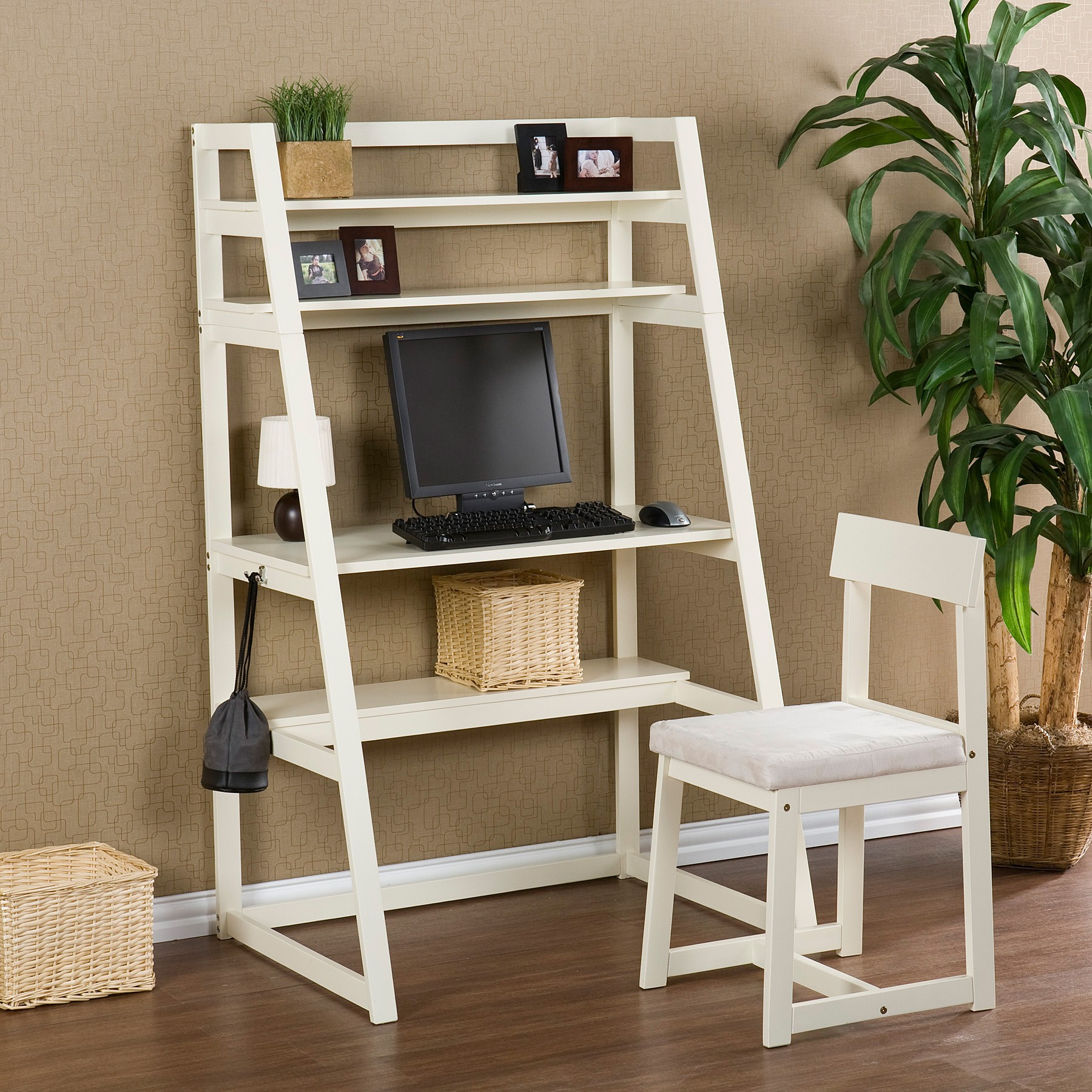 Image of: Rustic White Ladder Bookcase 2018