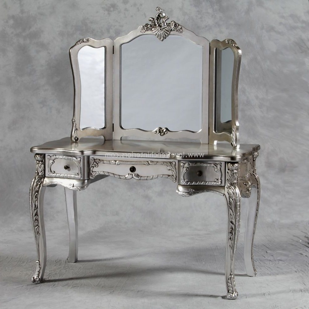 Image of: Silver Antique Vanity with Mirror